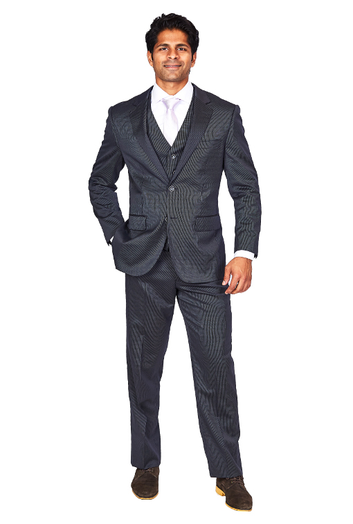 Bresciani 3 Piece Navy Pinstripe Suit Srg Fashion