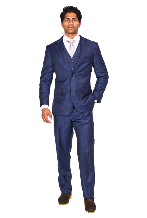 Bresciani 3 Piece Blue Double Window Suit