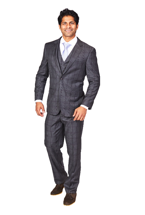Bresciani 3 Piece Grey Check Suit