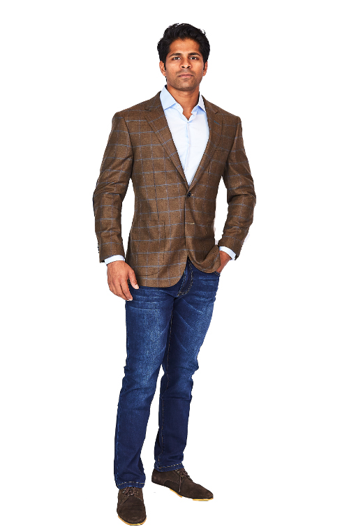 Bresciani Brown Windowpane Sport Jacket