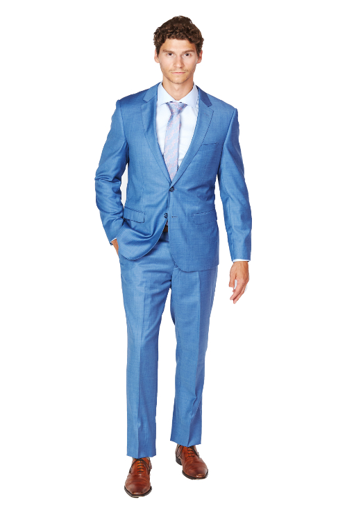 Giovanni Bresciani Medium/Lite Blue Sharkskin Slim Fit Suit