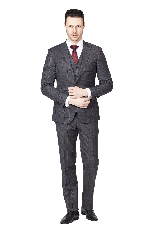 Giovanni Bresciani Grey Check Slim Fit 3 Piece Suit