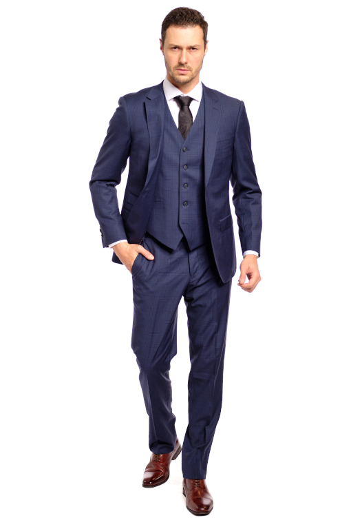 Navy Executive Plaid 3 Piece