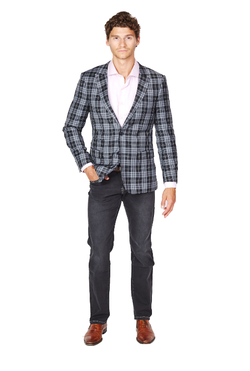Giovanni Bresciani Black Plaid Sport Jacket
