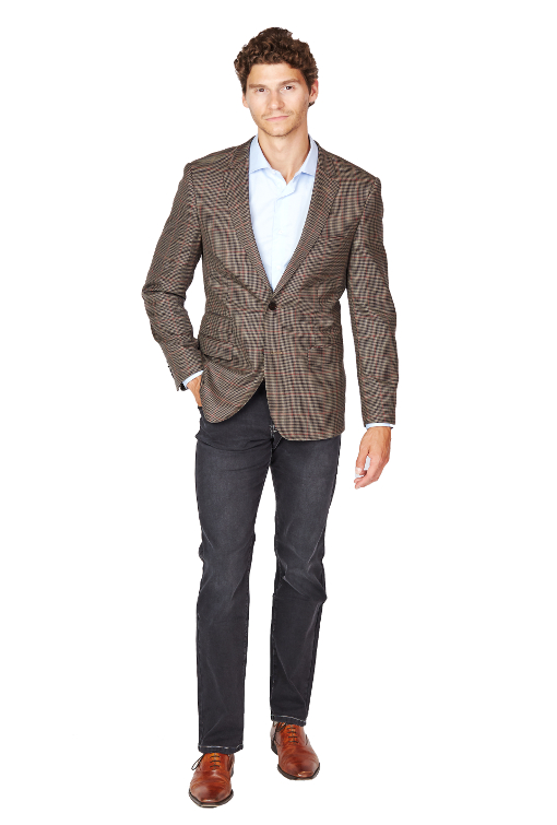 Giovanni Bresciani Brown Houndstooth Window Sport Jacket