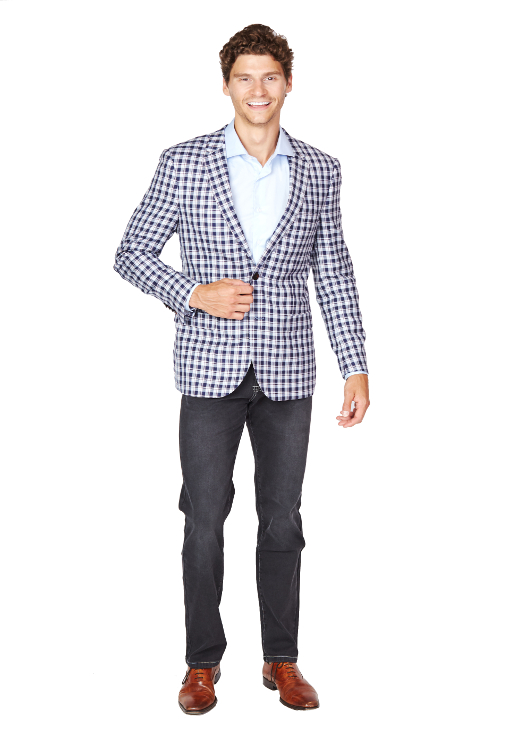 Giovanni Bresciani Blue Plaid Sport Jacket