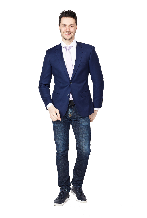 Giovanni Bresciani Navy Weave Slim Fit Sport Jacket