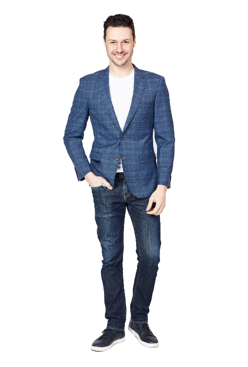Giovanni Bresciani Blue Boxes Slim Fit Sport Jacket