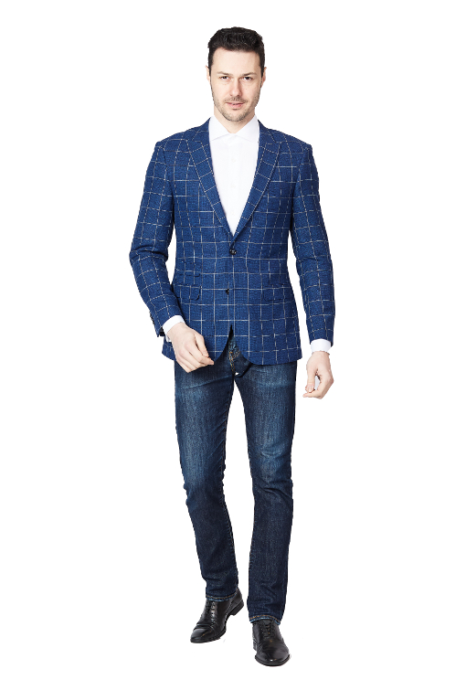 Giovanni Bresciani Blue Window Slim Fit Sport Jacket