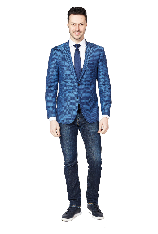 Giovanni Bresciani Blue shadow Square Slim Fit Sport Jacket