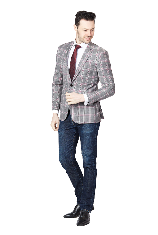 Giovanni Bresciani Pink Check Slim Fit Sport Jacket