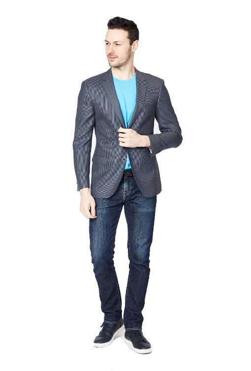 Giovanni Bresciani Grey Blue Symphony Slim Fit Sport Jacket