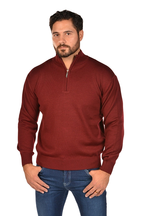 RGB-Half-Zip Burgundy Sweater