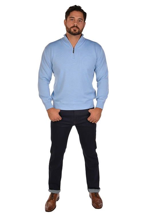 RGB-Half-Zip Lite Blue Sweater