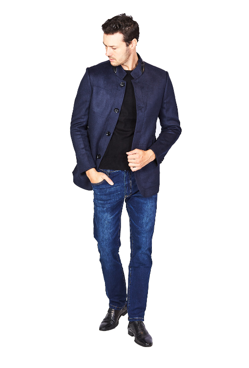 RGB Stand Collar Navy Jacket