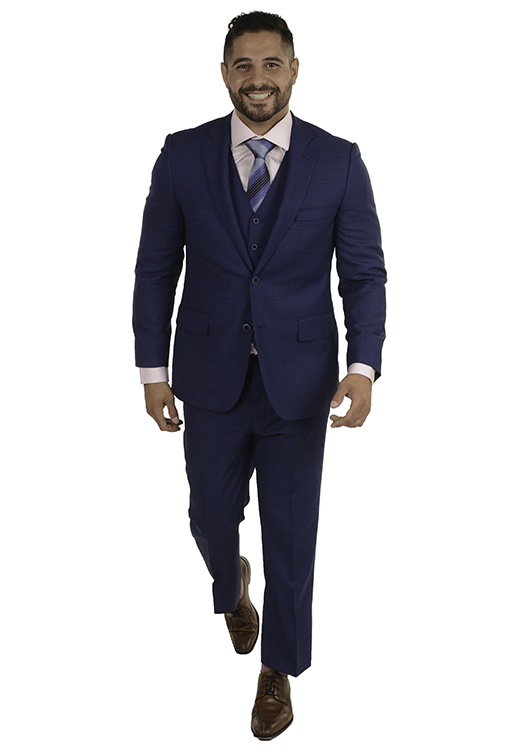 Sartoria Tosi Blue Nailhead 3 Piece Suit