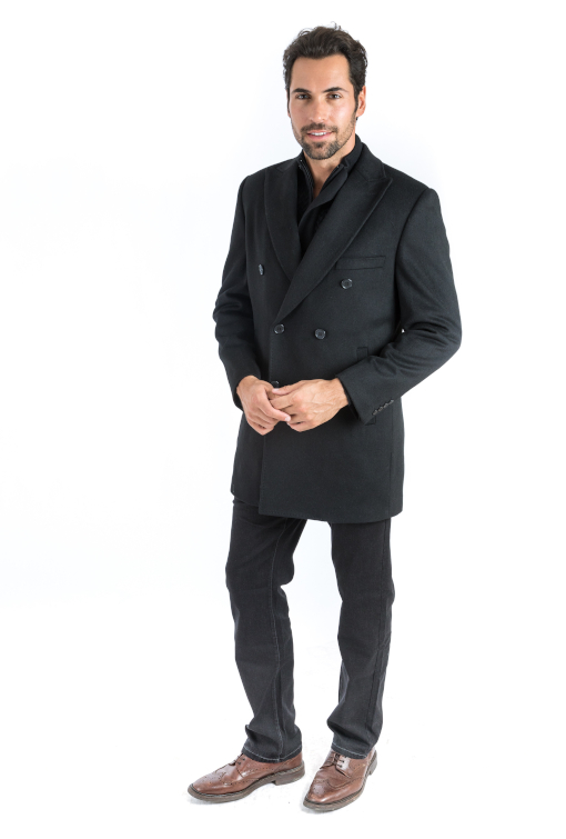 Sartoria Tosi Black Double Breasted Overcoat