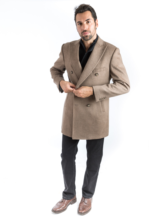Sartoria Tosi Camel Double Breasted Overcoat