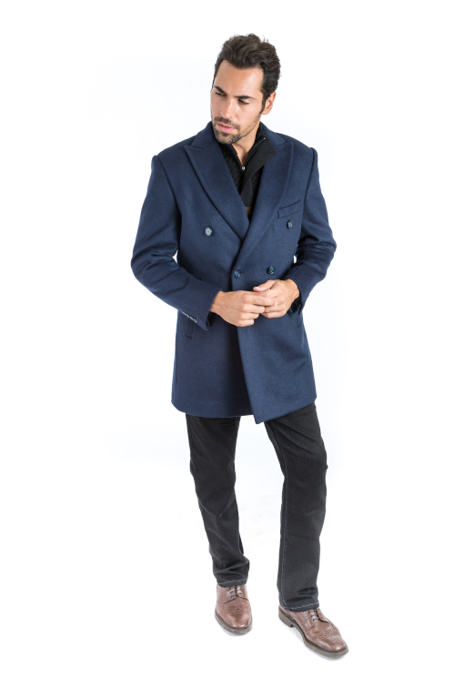 Sartoria Tosi Navy Double Breasted Overcoat